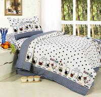 Wholesale slanting stripe print cotton three piece child cartoon bed in a bag