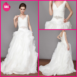 Wholesale New Arrival Succinct Fashionable Unique V neck Sash Tiers Organza Ball Gown Court Train Wedding Dress