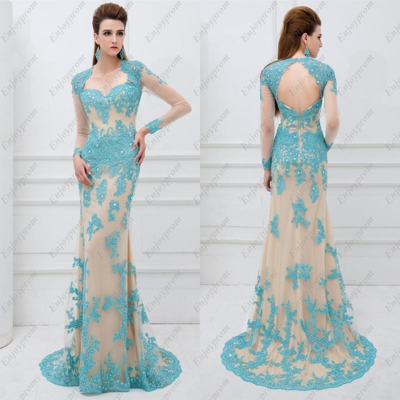 2014 Hot New Prom Dress, Glamorous Champagne Tulle Key Hole ...