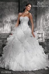 Wholesale High Quality Sexy Wedding Dresses White Bridal Gowns Sweetheart Lace Up Backless Chapel Train Pleat Ruffled Beads Sheer Church Wedding