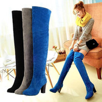 Wholesale salebags Hot Women s Over The Knee Side Zipper Stylish High Heeled Boots Pure Color P116