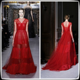 Wholesale 2014 Red High Neck Valentino A Line Tulle Long Evening Prom Dresses Ruffles Lace Sweep Train Long Sleeve Women s Pageant Party Gowns