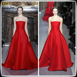 Wholesale 2014 Red Valentino A Line Strapless Sleeveless Satin Long Pageant Evening Dresses Floor Length Women s Party Prom Gowns Ruffles