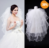Wholesale Special Design Elegant T White Ivory Long Flower Lace Wedding Veils Long Flower Bridal Veils With Lace Wedding Favor Veils Cheap In Stock