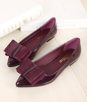 Wholesale New Arrival Casual Flat Bow Pointed Toe Heel Sngle Women s Shoes