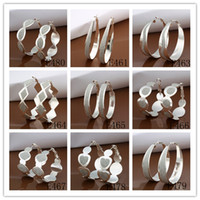 Wholesale Mixed Order silver plated hoop earrings classic fashion jewelry for women Top Quality pair