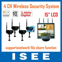 "Guangdong China (Mainland) S-C442DR454 Up to 12 Mbps 4 CH Wireless H.264 DVR System with 15"" LCD,Night Vision Camera"
