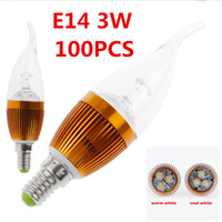 Wholesale Candle Light Bulbs W E14 LED Candle Light Bulb Flame Tip Epistar LED chips Warm Cold White Clear Golden Color Led Bulb