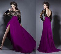 Reference Images Jewel/Bateau Chiffon 2014 New Bien Savvy Long Sleeve Backless Sexy Formal Evening Gowns Lace Chiffon Purple Split Celebrity Party Prom Dresses Cheap Arabic