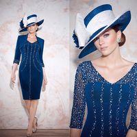 Wholesale 2014 Beaded Mother of the Bride Dresses Tea Length Taffeta Evening Gowns with Bolero Jackets Veni Infantino