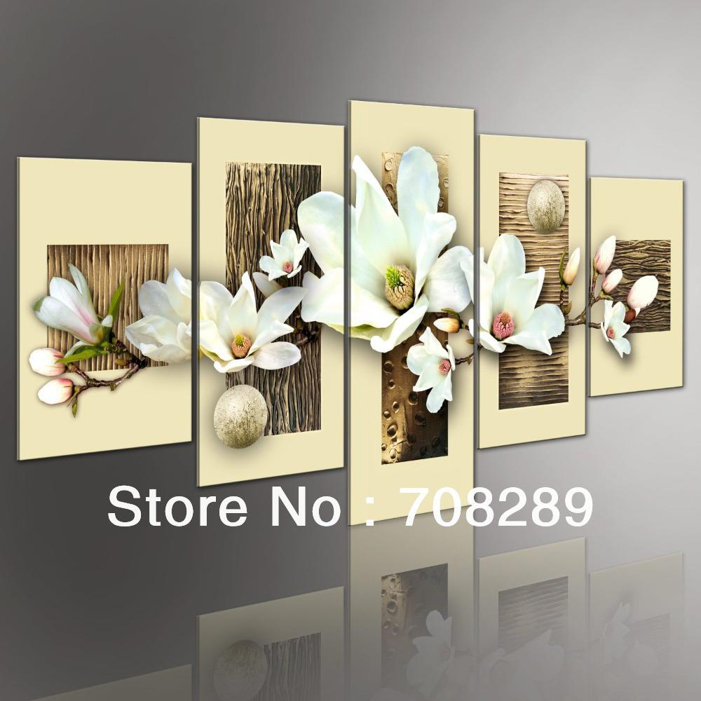 Thick Texture Magnolia 5pcs Set Modern Abstract Oil Paintings Landscape Pop Painting Wall Art Home