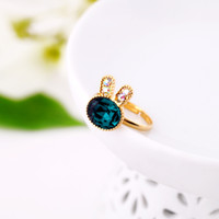 Wholesale Min order Japanese and Korean fashion jewelry thick gold plated inlay emerald ring girls resizable box