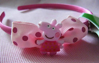 Wholesale Ready to Ship Peppa Pig Baby Girls Hair Band Hairpin Cartoon Character With Polka Dots Bow Hair Accessories