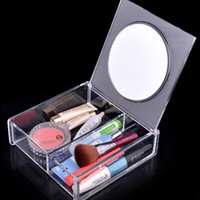 Wholesale USA INSTOCK SF1027B Fashion Square space Crystal Storage Box makeup Organizer Cosmetic Acrylic Clear Jewelry Display Case with Mirror