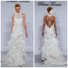 Wholesale Pnina Tornai Sheer Garden Wedding Dresses With Hand Made Flowers Lace High Neck Sweep Train Backless