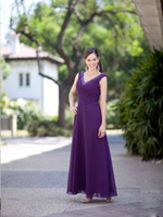 Wholesale 2014 Modern V neck Beading Column Chiffon Mother of the Bride Dresses Floor length Zipper Stunning Long Party Evening Gowns MOB02