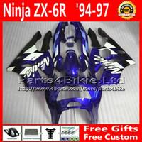 al por mayor zx6r 97-Kit de carenado de carreras para ZX636 94-97 Kawasaki ninja carenado azul negro ZX6R 1994 1995 1996 1997 piezas de recambio ZX 6R 636 + 7 regalos FA16