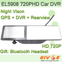 Wholesale car dvr inch HD in GPS Rear View Mirror Car Camera Monitor Dvr with Windows CE Bluetooth Infrared Night Vision