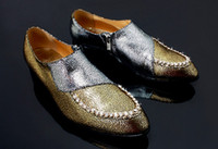 Wholesale Fashion gold Leather casual shoes Casual Shoes men Shoes men wedding shoes bridegroom Shoes