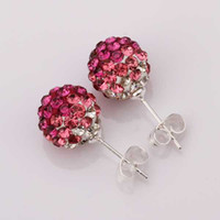 Wholesale Silver Earring MM Disco Ball Beads Cute Gift Crystal Shamballa Earring Fasion jewelry Stud Earrings SBE101