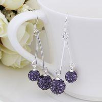 Wholesale New Arrival Silver Earring Double Disco Ball Bead Crystal Shamballa Drop Earring Fasion jewelry SBE170