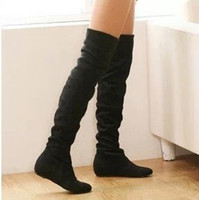 Wholesale New arrival ladies fashion flat bottom boots for women autumn winter over the knee high leg suede boots low heels brand