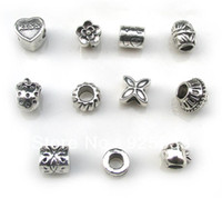 Crystal Flowers Antique Silver Free shipping 50pcs lot big hole antique flower and fruit metal beads fit European bracelet jewelry DIY mix style