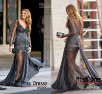 Wholesale 2014 Gossip Girl Blake Lively Zuhair Murad Long Sleeves Lace Grey Evening Dresses Evening Gown Prom Dress MDe908