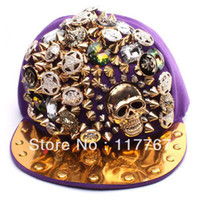 Wholesale Hot Color New Fashion Punk Hip hop Spikes Rivets Studded Button Skull Adjustable Cap Hat