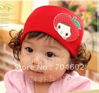 Wholesale New Arrival Autumn Cotton Knitted Crochet Headband with Cute apple and Wig Fascinator Hats HZ001