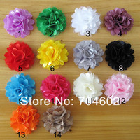 Wholesale Freeshipping Baby Girls Mini Satin Fabric Tulle Mesh Flowers for Headband Headwear color in stock TH54