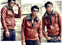 Wholesale 2014 Korean Trendy England Style Fashion Fur Collar High Quality PU Leather Man Jacket Plus Black and Brown Colors