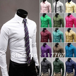 Wholesale 17 Colors pc New Design Mens Slim Fit Unique Neckline Stylish Long Sleeve Shirts Mens Dress Shirts Size M XXXL