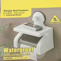 Wholesale 1PC NEW White Toilet Paper Holder Waterproof Paper Tissue Box Bathroom Toilet Roll Sucker Holder With Cover