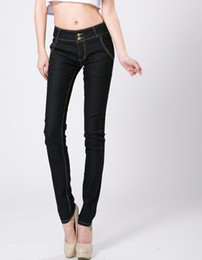 Wholesale 2014 new arrival high waist jeans trousers women slim jeans designer brand s ladies slim pencil s dark blue black