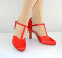 ballroom wear - 2016 Adult header with modern dance shoes ballroom dancing shoes high heeled women wear Red Ladies Latin shoes Latin dance shoes