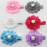Headbands Headwear Floral Baby Product Shabby Frayed Flower With Pearl Center For Baby Photo Headbands Hair Clips Flowers Accessory 180pcs lot TH73