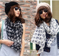 Wholesale New Women Product Crown Skeleton Head Print Scarf Shawl Velvet Chiffon Scarf Long scarves CM WJ07