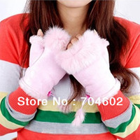 Wholesale 2013 New Arrival Women Antumn Winter Warm Rabbit Hair Gloves Fashion Women s Dew Refers Gloves With Fur For Lassie