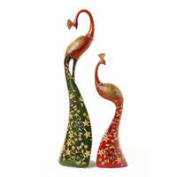 Wholesale Lovers of the peacock decoration modern brief rustic vintage resin craft home decoration wedding gift