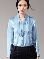 Casual Women Silk Fringe Stand Collar Long Sleeves Solid Color Silk Fashionable Woman's Shirt mens shirts r58 #u14-1uAy