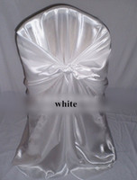 Wholesale 2014 HOT SALE White Satin Universal Wedding Chair Cover Fedex