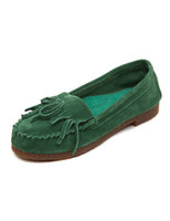 Wholesale Green Round Toe Cowhide Comfortable Women s Boat Shoes women u10 F47