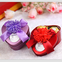 Wholesale 7 cm Romantic Purple Red Heart Candy Box Cute Chocolate Containers Wedding Favors CK048