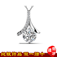 Wholesale A generation of fat sterling silver necklace pendant diamond CZ sterling silver necklaces and more PE071S8 YML