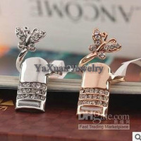 Wholesale Butterfly Finger Nail Ring Jewelry Rhinestone Diamond Womens Mens Wedding Rings Hot Sale