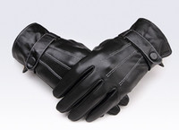 Wholesale Retail Men s Genuine Sheepskin Leather Screen Touch Gloves For Iphone Ipad HTC Man s Winter Touch Gloves