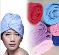 Wholesale x22cm Microfiber Bath Towel Absorbent Magic Quick Dry Bath Hair Drying Dry hat hair cap