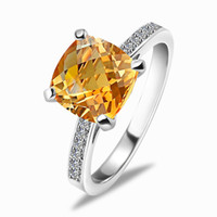Solitaire Ring Bohemian Women's Natural citrine gemstone ring 925 sterling silver rings Korean fashion jewelry silver jewelry female models