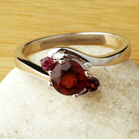 Solitaire Ring Bohemian Women's Natural red tourmaline gemstone peridot Topaz Ring in Sterling Silver Purple Natural Citrine ring female models